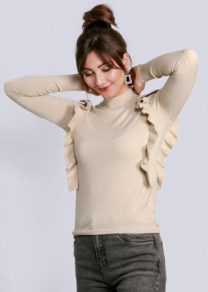 Pullover mit Volants, beige