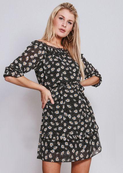Schulterfreies Kleid mit Blumen-Print, schwarz