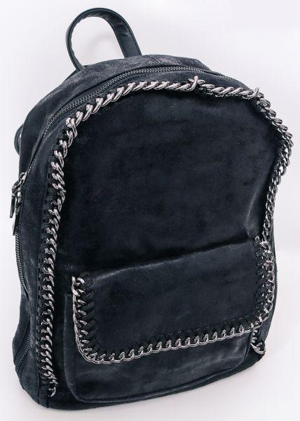 Rucksack mit Kettenumrandung, schwarz