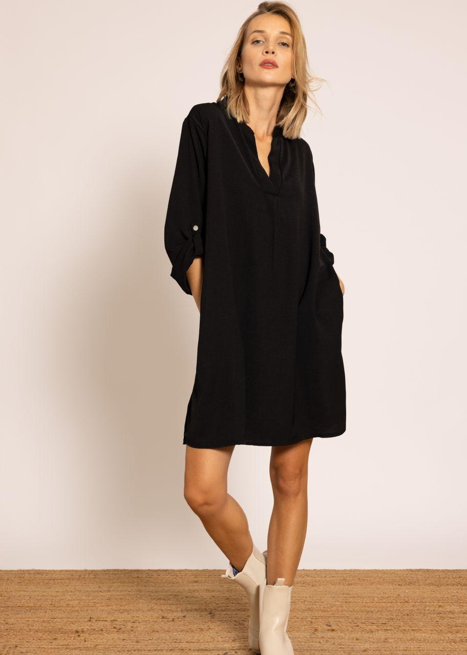 Hemdblusen-Kleid, schwarz