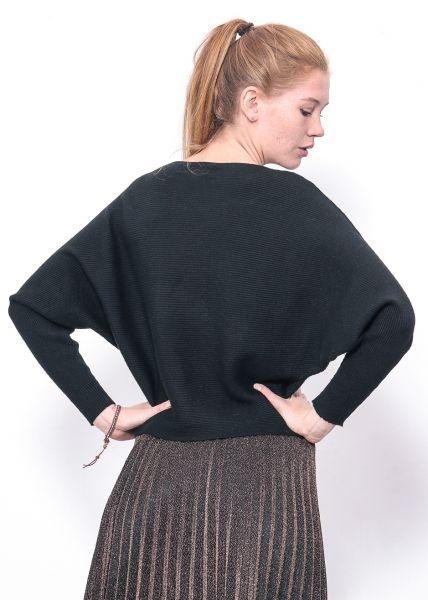 Rippenstrick-Pullover, schwarz