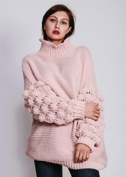 Pullover mit voluminösen Ärmeln, rosa