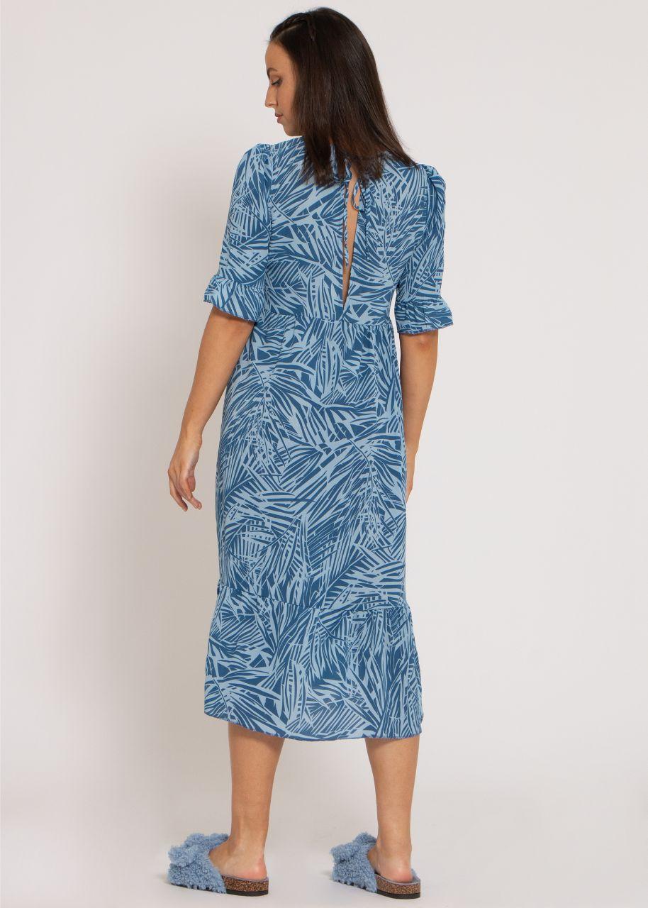Langes Kleid mit Palmen-Print, blau