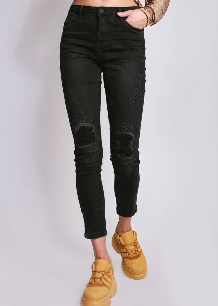 Highwaist destroyed Jeans, schwarz