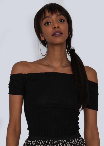 Crop-Shirt mit Carmenausschnitt, schwarz