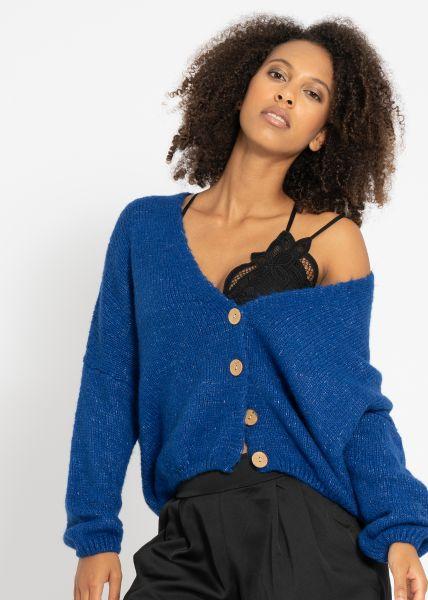 Oversize flauschige Strick-Jacke, royalblau