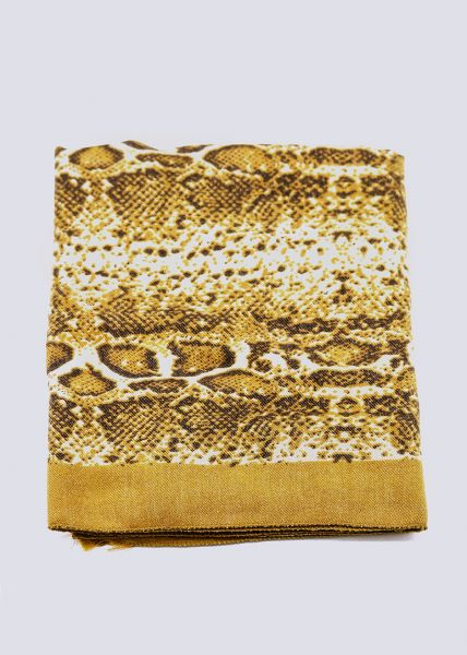 Schal in Snake-Print, gelb