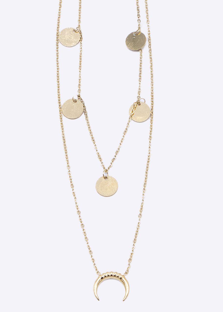 Kombinierte Halskette mit Mond und Plättchen, gold
