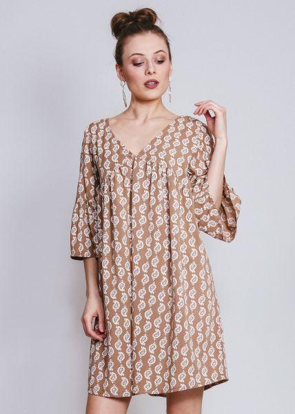 Hängerchenkleid mit Print, braun
