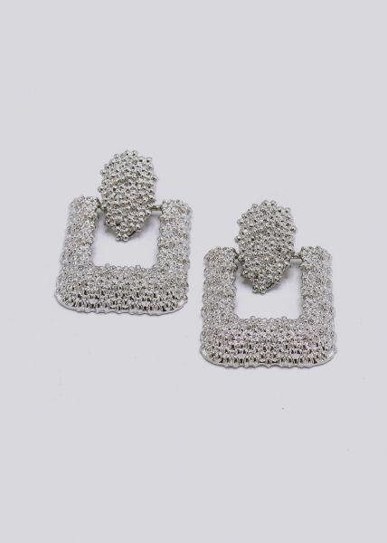 Ohrringe mit hängender Brosche, silber