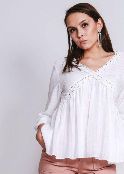 Tunika-Bluse mit Spitze, weiß