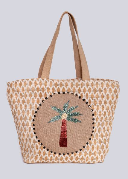 Strandtasche mit Palme, beige