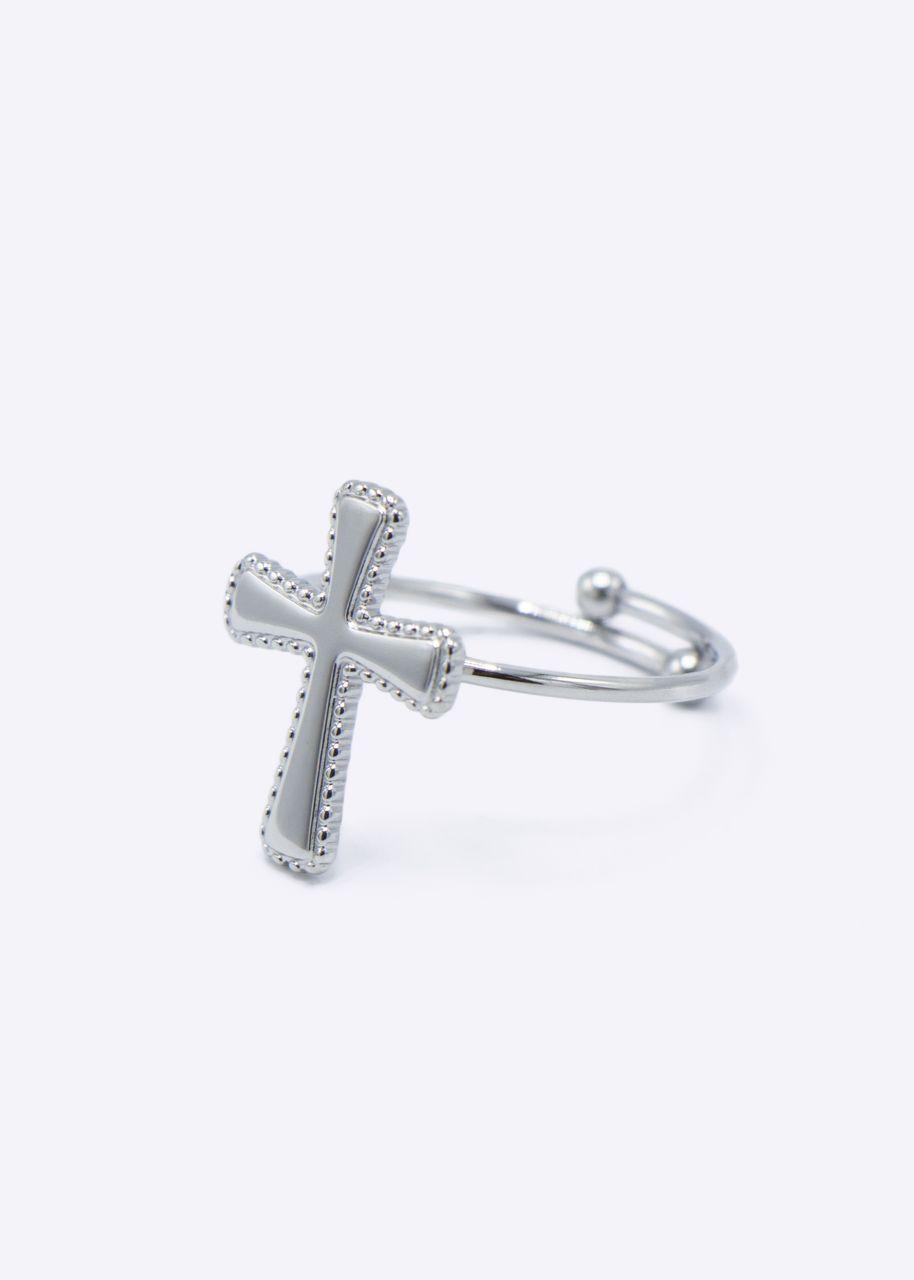 Ring mit glänzendem Kreuz, silber