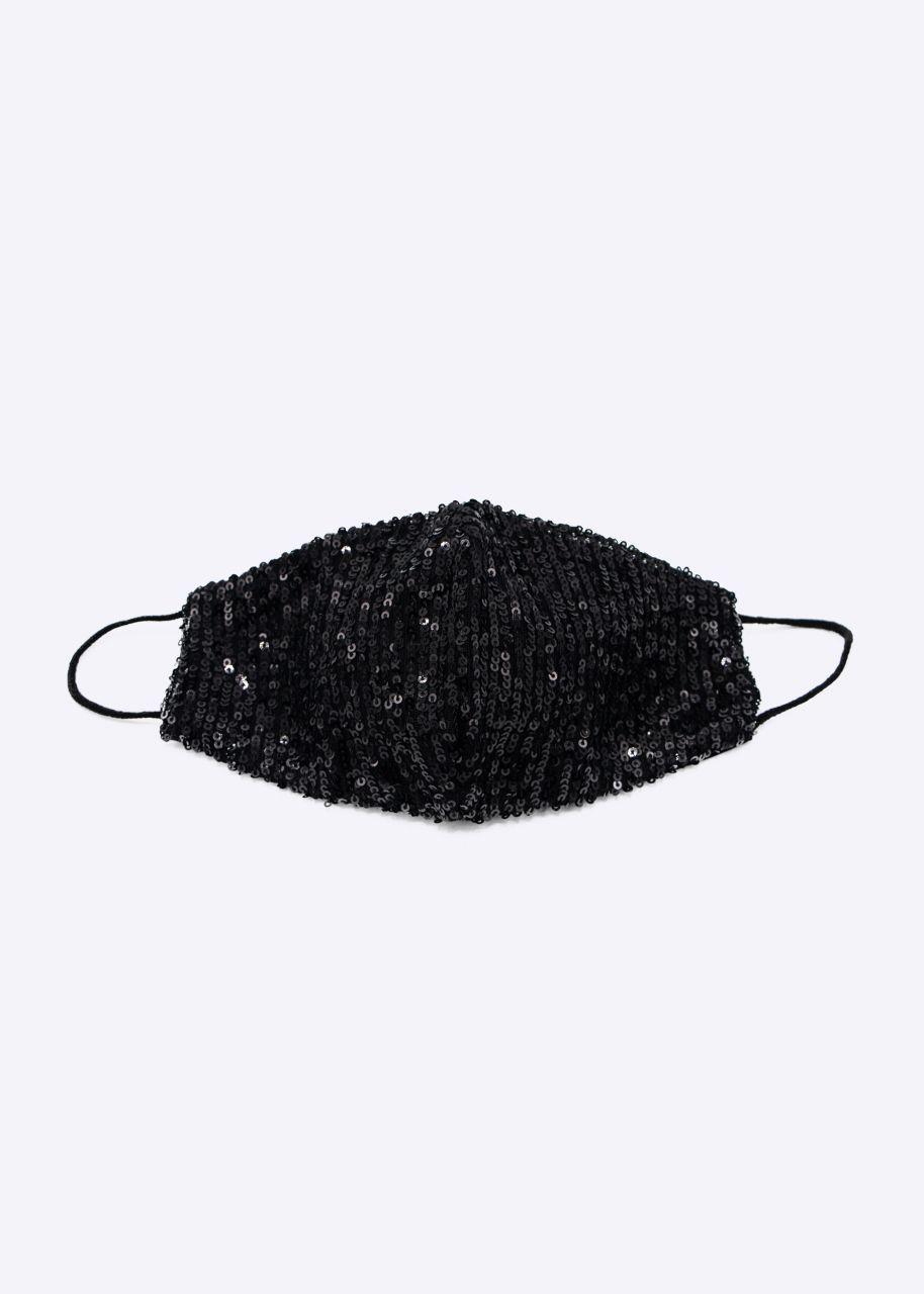 Stoffmaske mit Pailletten, schwarz