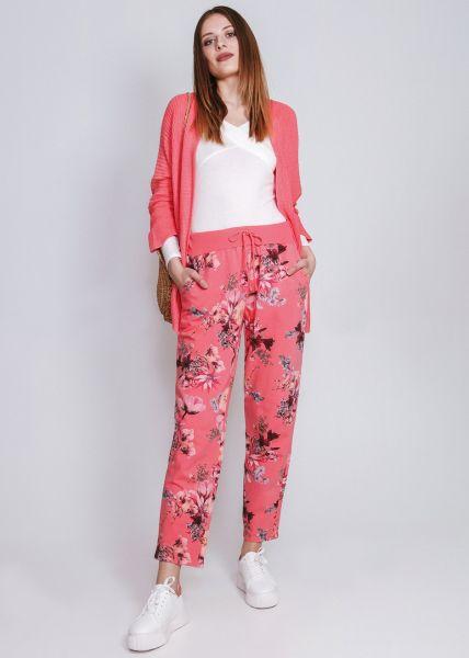 Loungepants mit Blumenprint, koralle