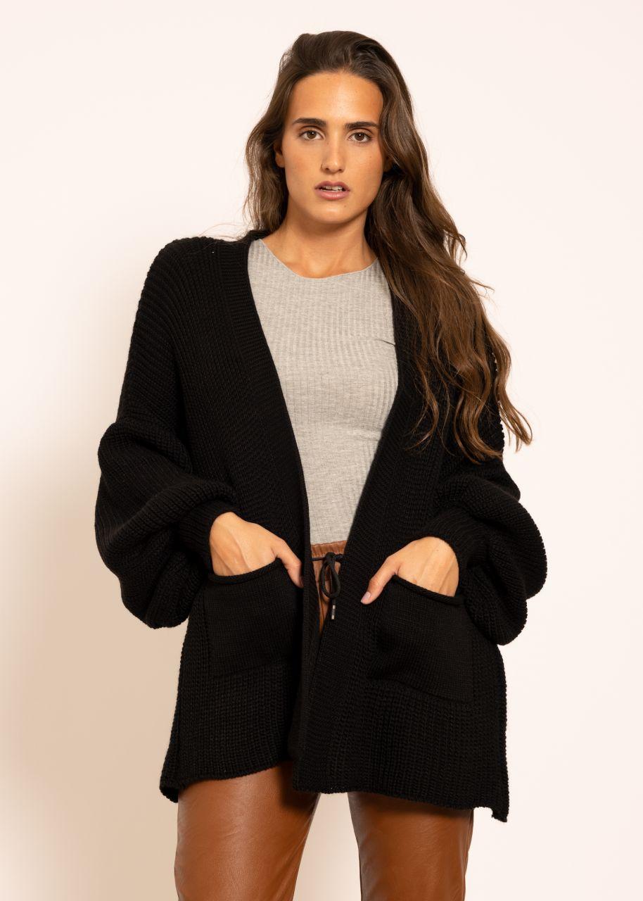 Strick-Cardigan mit Taschen, schwarz