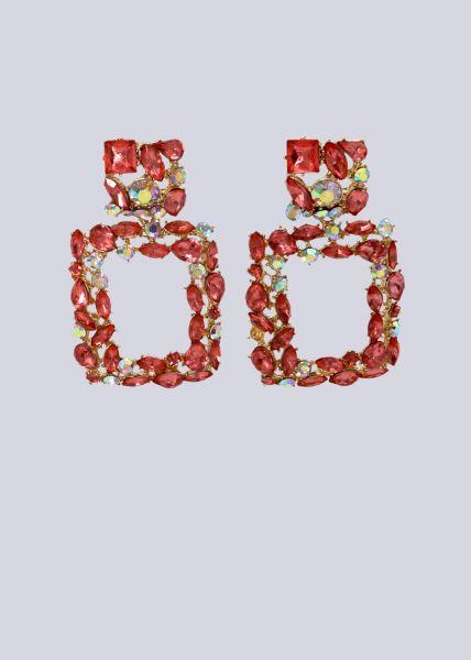 Ohrhänger mit rosa Schmucksteinen, gold