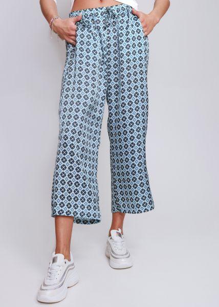 Schlupfhose in geometrischem Print, blau