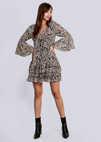 Kleid mit Blumenprint und tiefem V-Ausschnitt, schwarz
