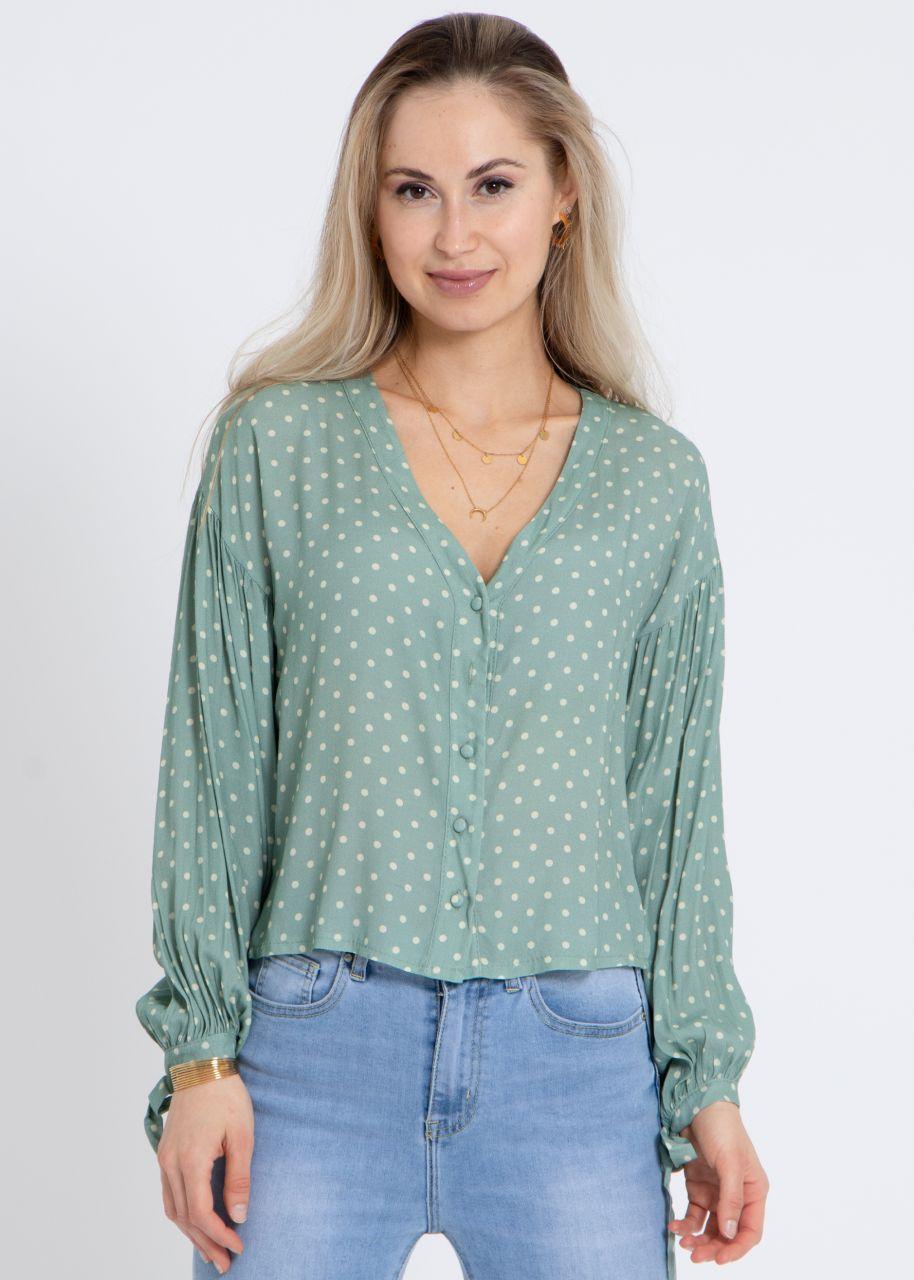 Bluse mit Tupfen-Print, grün