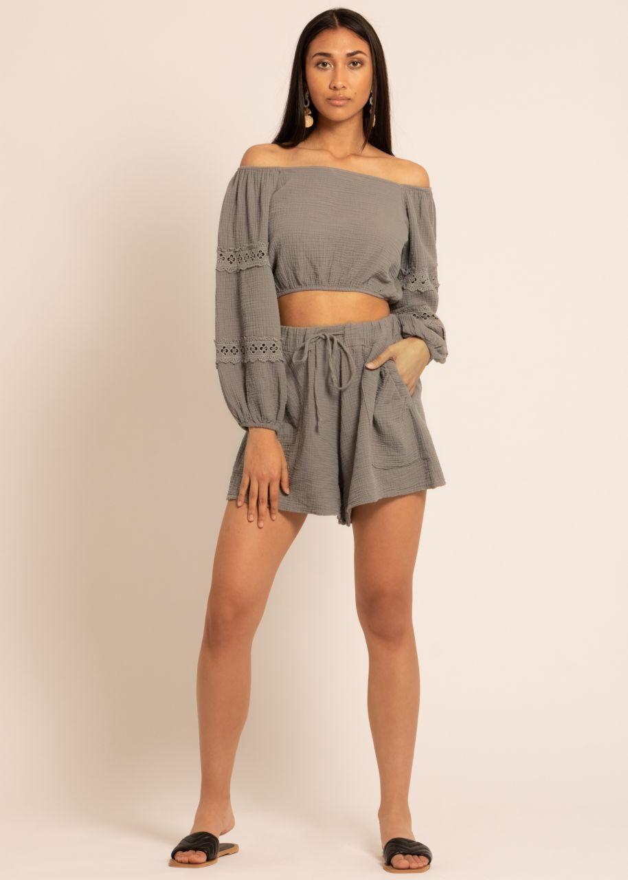 Ausgestellte Musselin Shorts, taupe