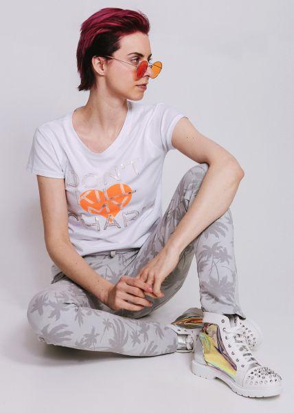 T-Shirt mit orange Herz und Print, weiß