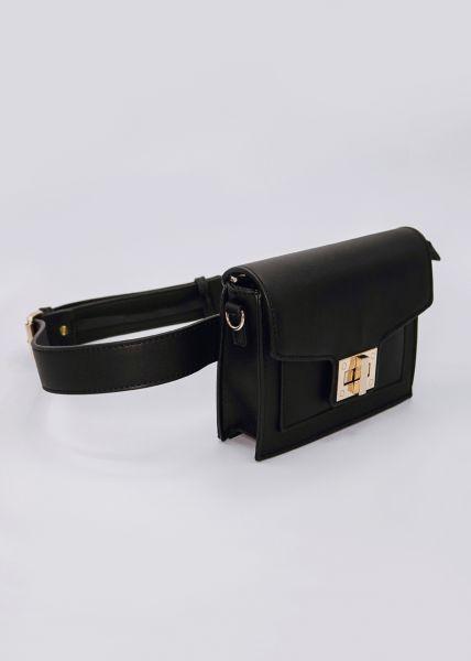 Gürteltasche / Tasche mit gold Verschluss, schwarz