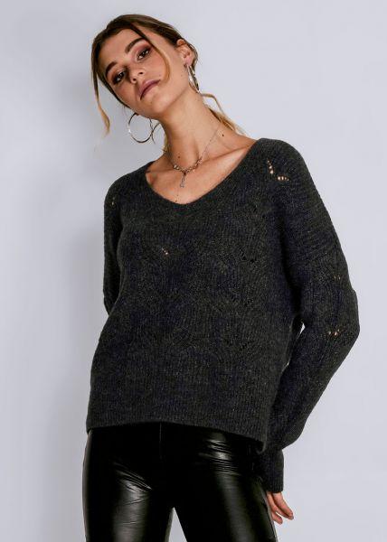 Luftig gestrickter Pullover, dunkelgrau