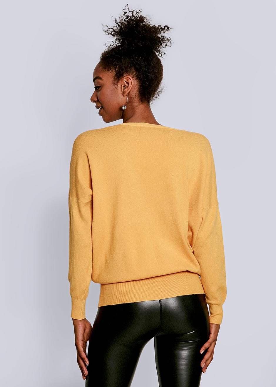 pullover mit tiefem v-ausschnitt, gelb | pullover und