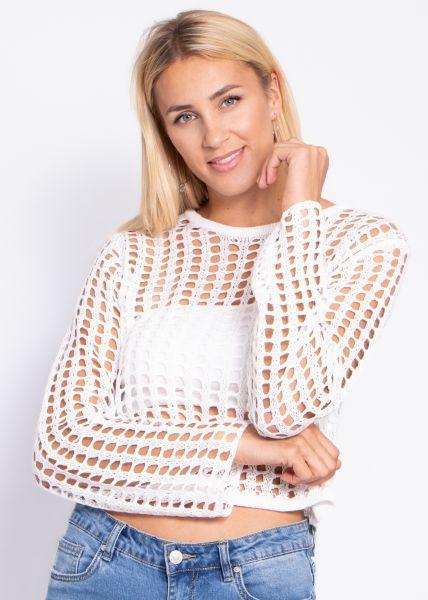 Netz-Pullover, weiß