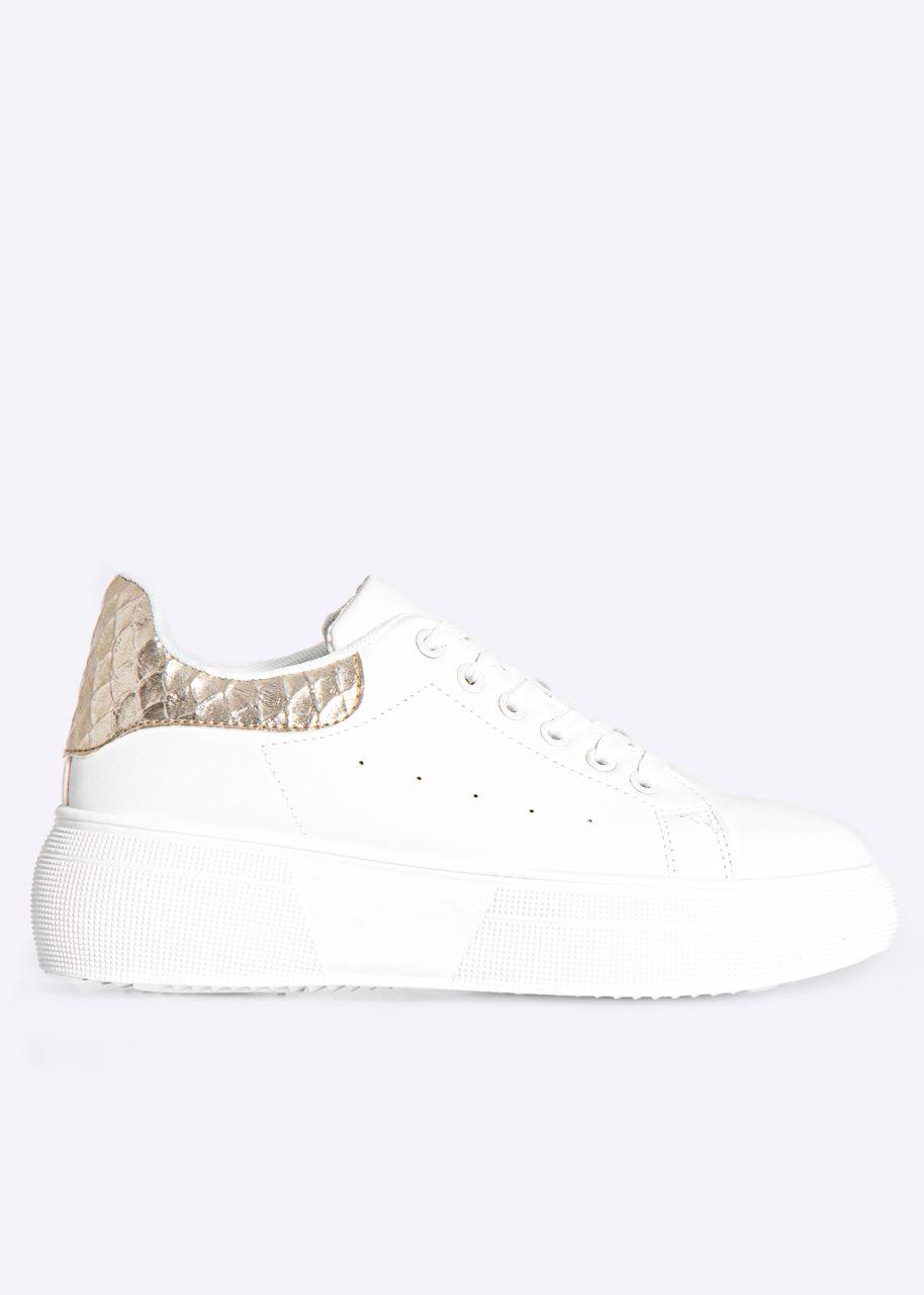 Sneaker mit gold Ferse, weiß
