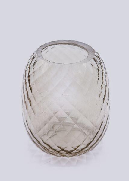 Kleine Vase mit Rautenmuster, grau