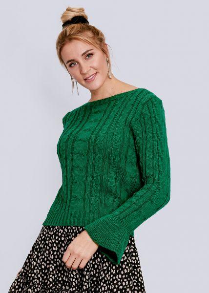 Zopf-Pullover mit Volantsärmel, grün
