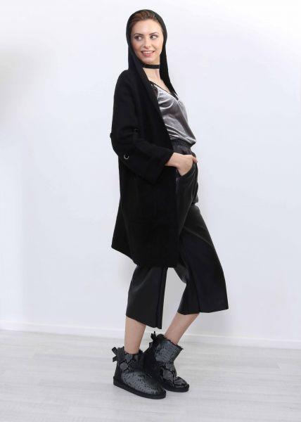 Strick-Cardigan mit Kapuze, schwarz