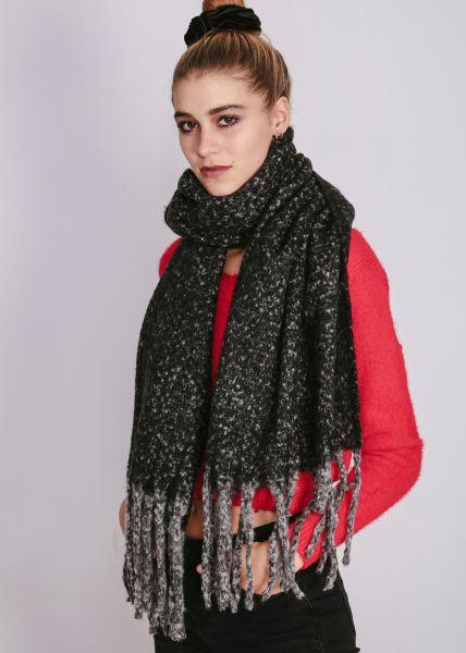 Melierter Schal mit langen Fransen, schwarz
