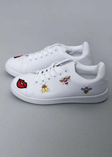 Sneaker mit Bienenstickerei, weiß