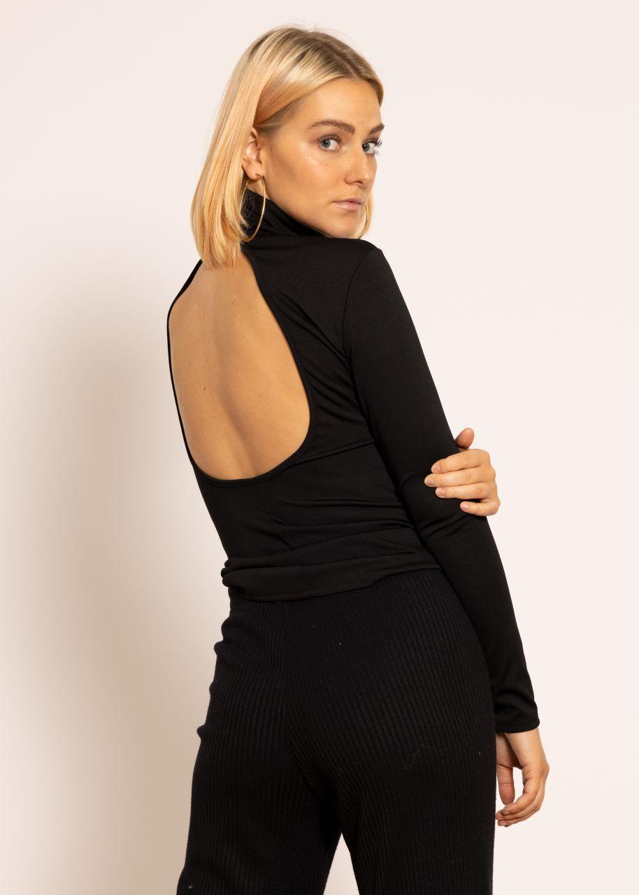 Rollkragen-Shirt mit Rückenausschitt, schwarz
