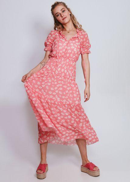 Midi-Kleid in Blumen-Print, koralle