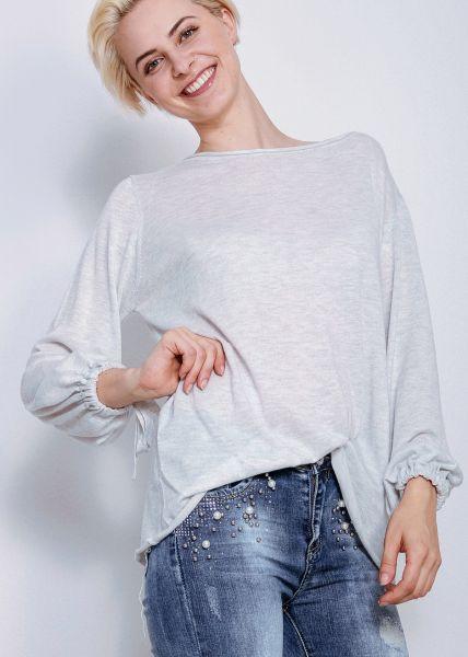 Oversize Pullover mit weitem Arm, grau