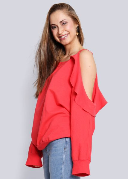 Sweatshirt mit Cut-Outs, rot