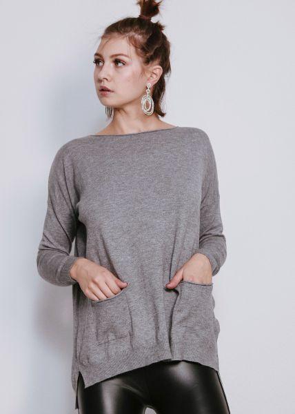 Oversize Pullover mit Taschen, grau
