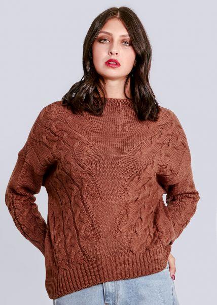 Lässiger Pullover mit Zopf-Muster, cognac