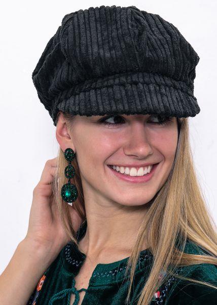 Bakerboy-Mütze aus Kord, schwarz