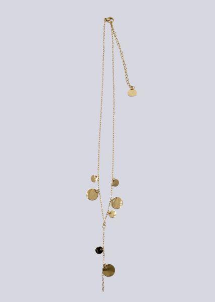 Halskette mit Plättchen, gold