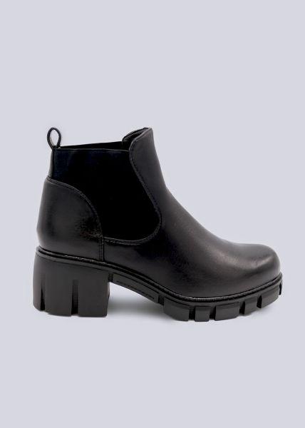 Chelsea-Boots mit Blockabsatz, schwarz