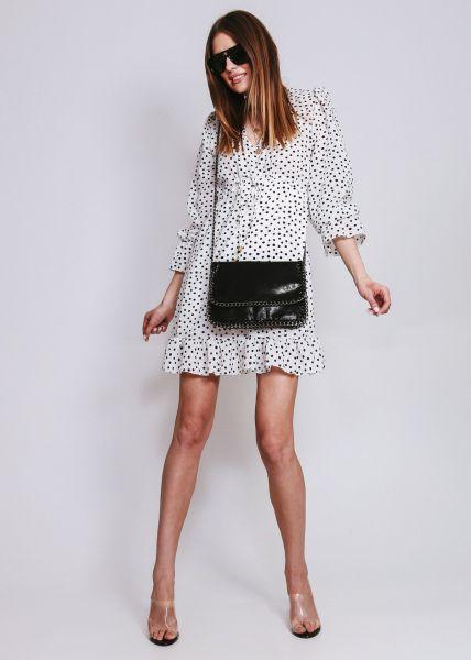 Kleid in Tupfen-Print, weiß