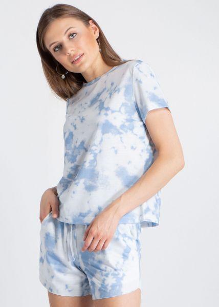 Zweiteiler in Batik-Print, blau