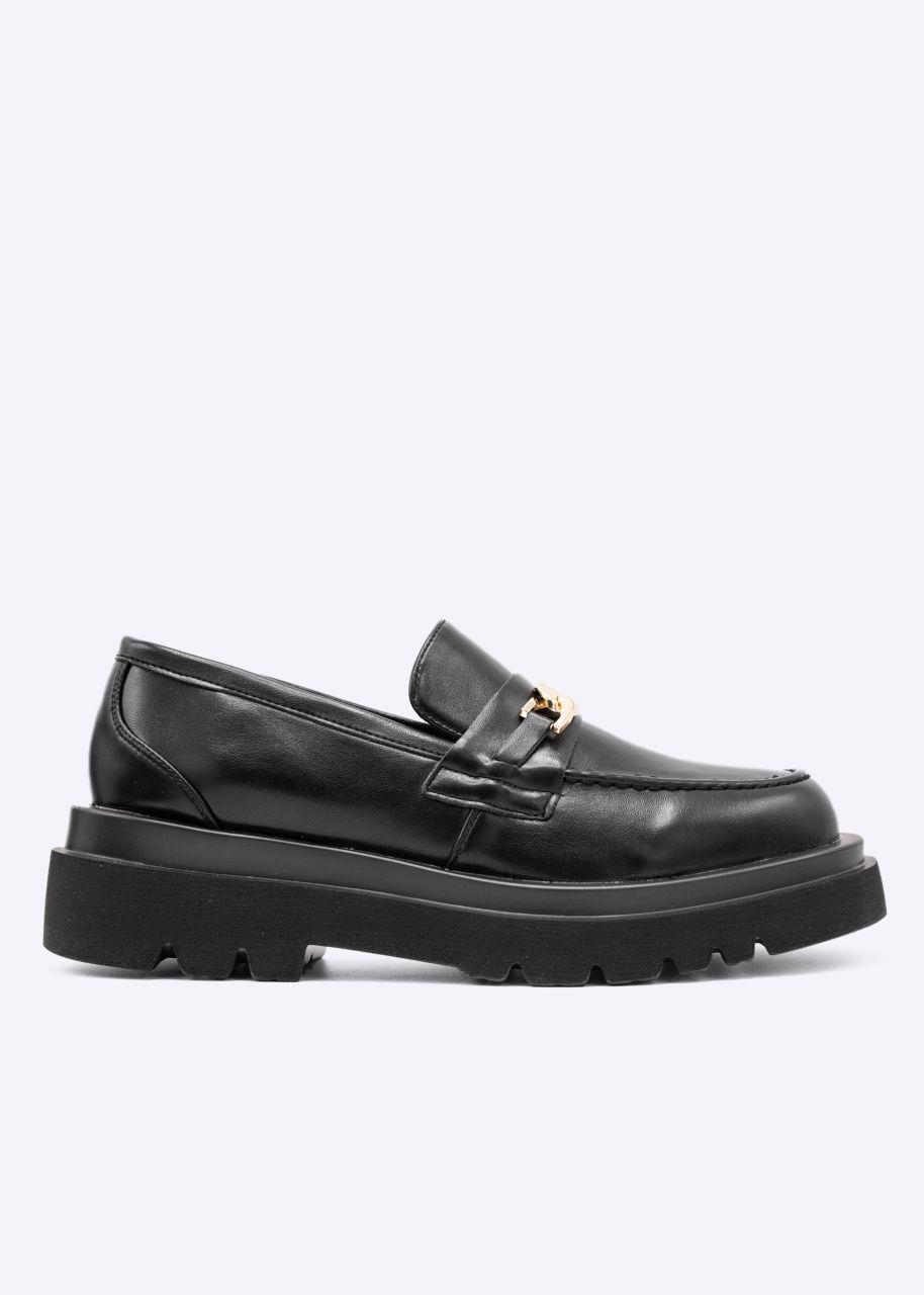 Chunky Loafers mit Plateau, schwarz