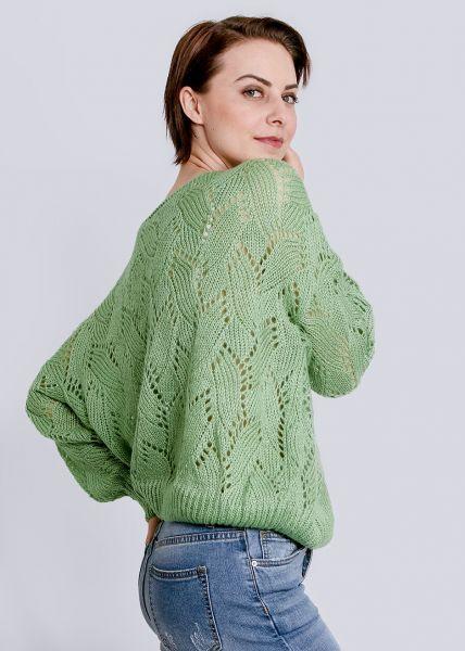 Luftig gestricker Pullover, hellgrün