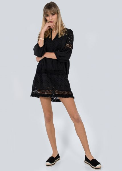 Baumwollkleid mit Spitze, schwarz